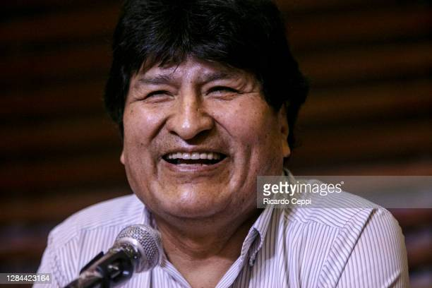 Former Bolivian President Evo Morales speaks during a press conference as he expresses his gratitude to the Argentine government and population for...