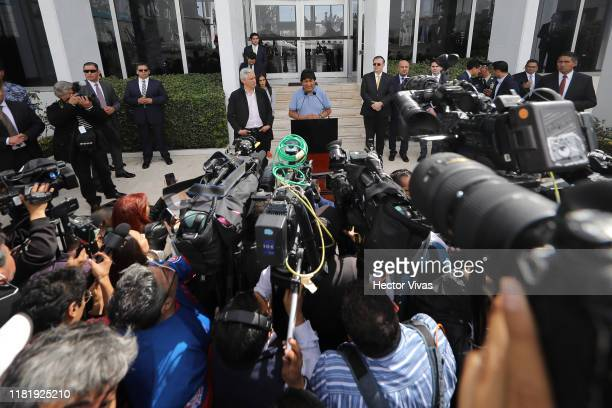 Former Bolivian president Evo Morales speaks to the press on his arrival to Benito Juarez International Airport after accepting the political Asylum...