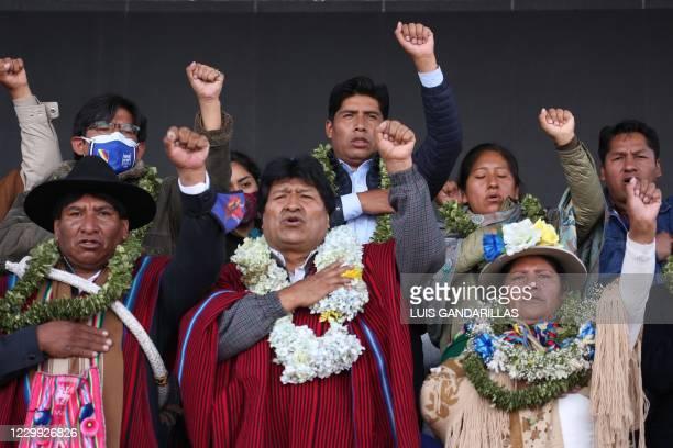 Former Bolivia's President Evo Morales attend a welcome ceremony upon his arrival to El Alto, Bolivia, on December 3, 2020. - Leftist former...