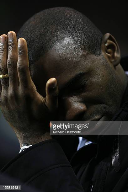 Former Bolton Wanderers player Fabrice Muamba makes an emotional return to White Hart Lane during the UEFA Europa League group J match between...