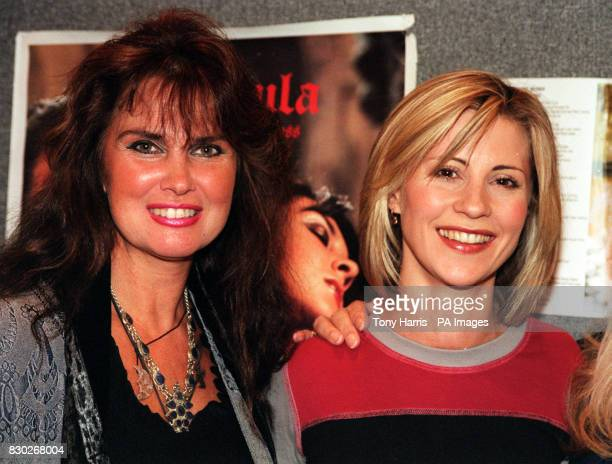 Former Bond Girl and Hammer Horror star Caroline Munro with Julia Carling at the opening of Collect '99 at Wembley Exhibition Centre in London...
