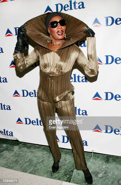 """Former """"Bond Girl"""" Grace Jones makes an appearance to celebrate Delta Ailrines' newest international route between New York and London at Stone Rose..."""