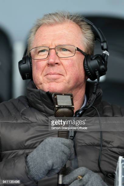 Former Boro manager Steve McClaren looks on as he works as a radio commentator during the Sky Bet Championship match between Burton Albion and...