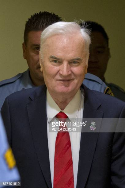 Former Bosnian Serb commander Ratko Mladic smiles as he enters the International Criminal Tribunal for the former Yugoslavia on November 22 to hear...