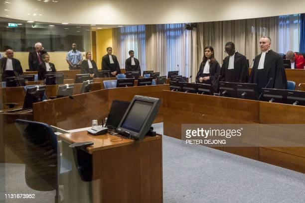 Former Bosnian Serb leader Radovan Karadzic reacts at the court room of the International Residual Mechanism for Criminal Tribunals in The Hague,...