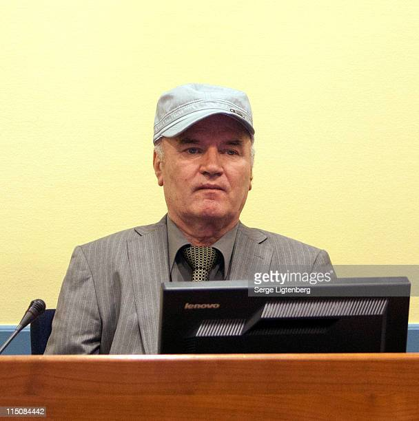 Former Bosnian Serb Military Leader Ratko Mladic looks on in the International Criminal Tribunal as he faces war crime charges on June 3 2011 in The...