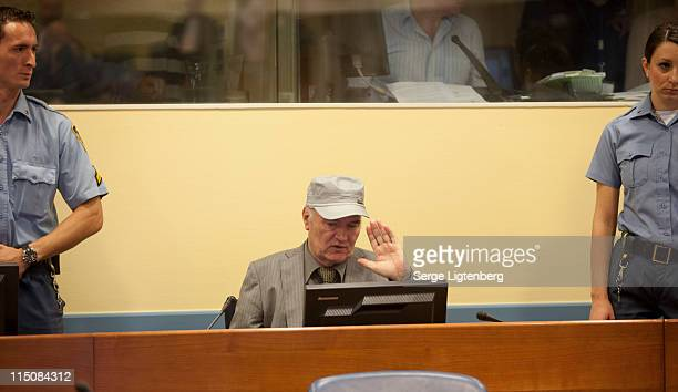 Former Bosnian Serb Military Leader Ratko Mladic speaks in the International Criminal Tribunal as he faces war crime charges on June 3 2011 in The...