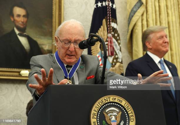 Former Boston Celtic Bob Cousy gets emotional while talking about his late wife Missie after US President Donald Trump presented him with the Medal...