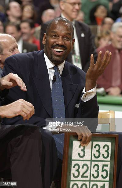 Former Boston Celtic Cedric Maxwell has his number retired before the game against the Minnesota Timberwolves at the Fleet Center on December 15 2003...