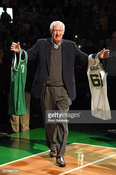 Former Boston Celtic John Havlicek is honored before the game against the Miami Heat on April 13 2016 at the TD Garden in Boston Massachusetts NOTE...