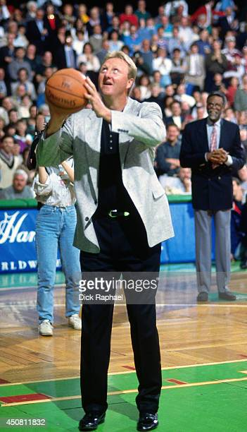 Former Boston Celtic Larry Bird takes a shot before a game played in 1995 against the Chicago Bulls at the Boston Garden in Boston Massachusetts NOTE...