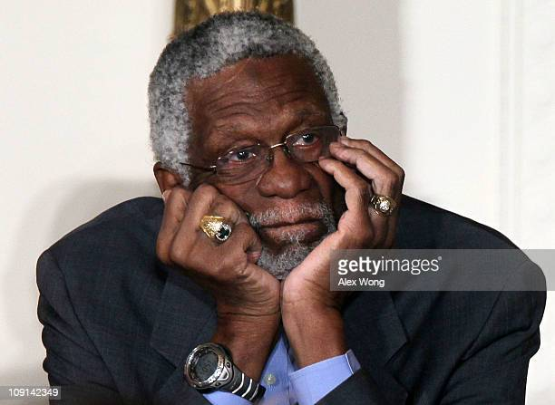 Former Boston Celtics captain Bill Russell listens during the 2010 Medal of Freedom presentation ceremony at the East Room of the White House...