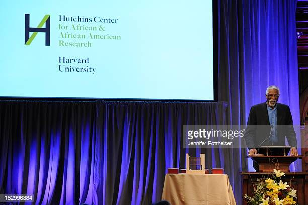 Former Boston Celtics player Bill Russell presents at the 2013 WEB Du Bois Medal at a ceremony at Harvard University's Sanders Theatre on October 2...