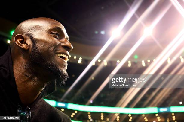 Former Boston Celtics player Kevin Garnett looks on during a game between the Boston Celtics and the Cleveland Cavaliers at TD Garden on February 11...