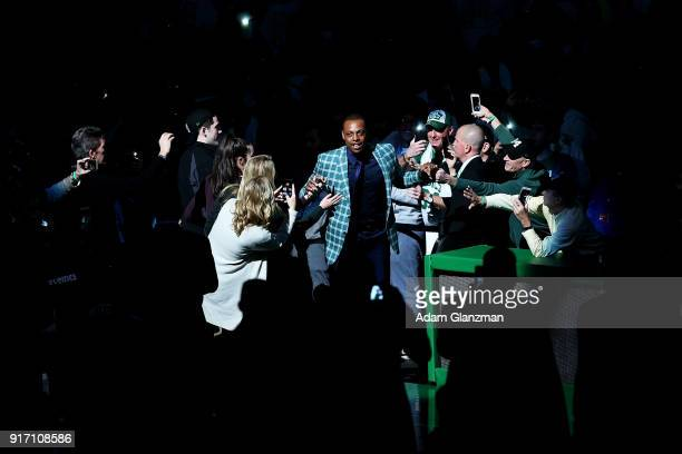 Former Boston Celtics player Paul Pierce enters the court before his number retirement ceremony after a game between the Boston Celtics and the...