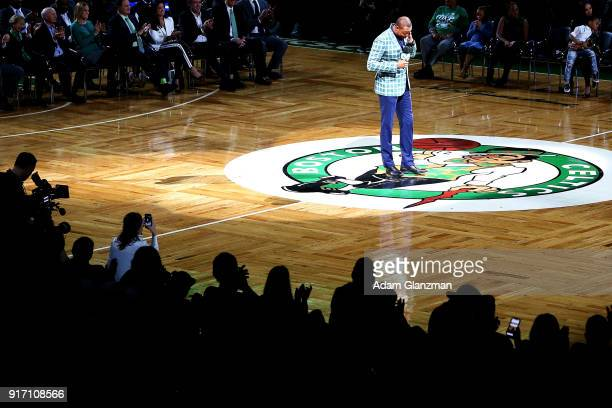 Former Boston Celtics player Paul Pierce gets emotional during a speech at his number retirement ceremony after a game between the Boston Celtics and...