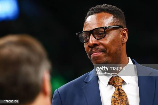 Former Boston Celtics player Paul Pierce looks on before a game against the Milwaukee Bucks at TD Garden on October 30, 2019 in Boston,...