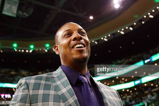 Former Boston Celtics player Paul Pierce looks on during a game between the Boston Celtics and the Cleveland Cavaliers at TD Garden on February 11...
