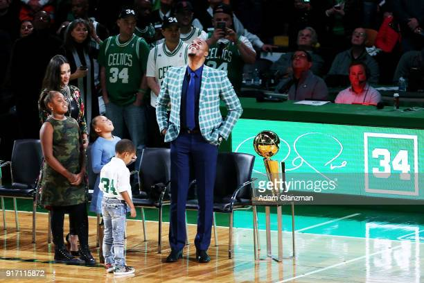 Former Boston Celtics player Paul Pierce reacts during his number retirement ceremony after a game between the Boston Celtics and the Cleveland...