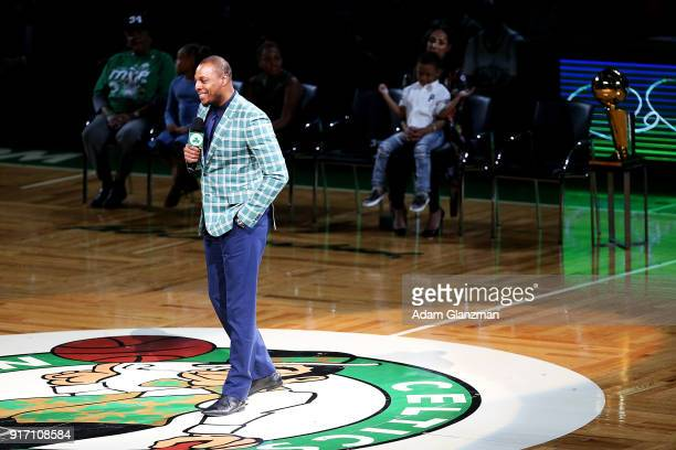 Former Boston Celtics player Paul Pierce speaks during his number retirement ceremony after a game between the Boston Celtics and the Cleveland...
