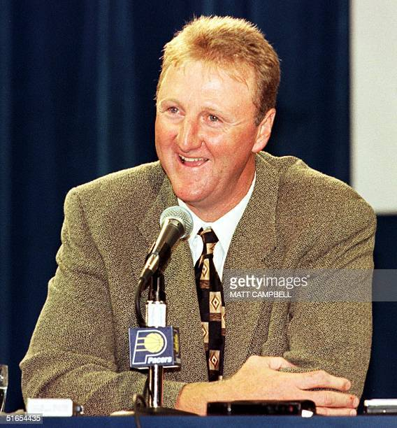 Former Boston Celtics star Larry Bird appears at a press conference called 12 May at Market Square Arena in Indianapolis Indiana to introduce him as...