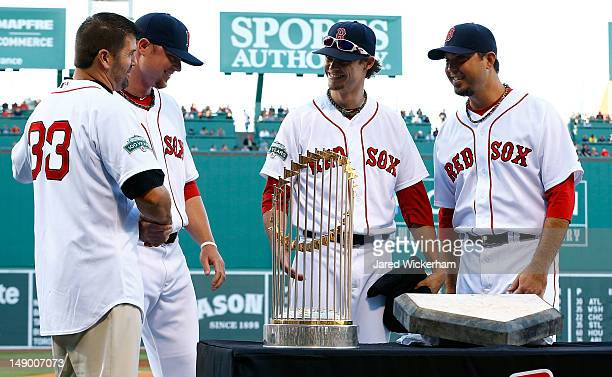 Former Boston Red Sox catcher and two-time World Series Champion, Jason Varitek, is honored by teammates Jon Lester, Clay Buccholz, and Josh Beckett...