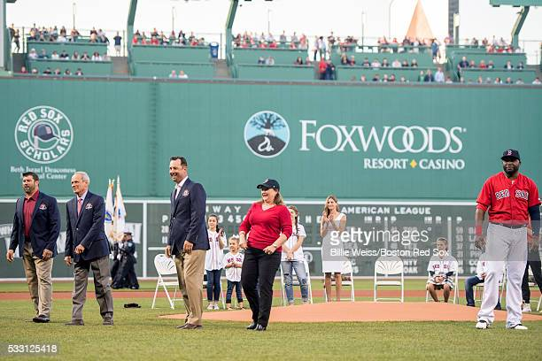 Former Boston Red Sox catcher Jason Varitek President CEO Emeritus Larry Lucchino former pitcher Tim Wakefield grand daughter of former Boston Red...