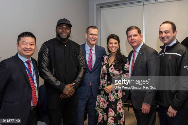 Former Boston Red Sox designated hitter David Ortiz poses for a photograph with Boston Public Schools Superintendent Tommy Chang Boston Red Sox...