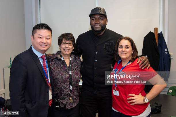 Former Boston Red Sox designated hitter David Ortiz poses for a photograph with Boston Public Schools Superintendent Tommy Chang Hurley School...