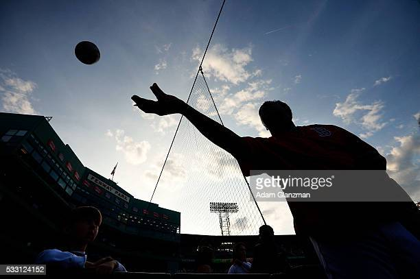 Former Boston Red Sox pitcher and HallofFamer Pedro Martinez signs autographs before the game between the Boston Red Sox and the Cleveland Indians at...