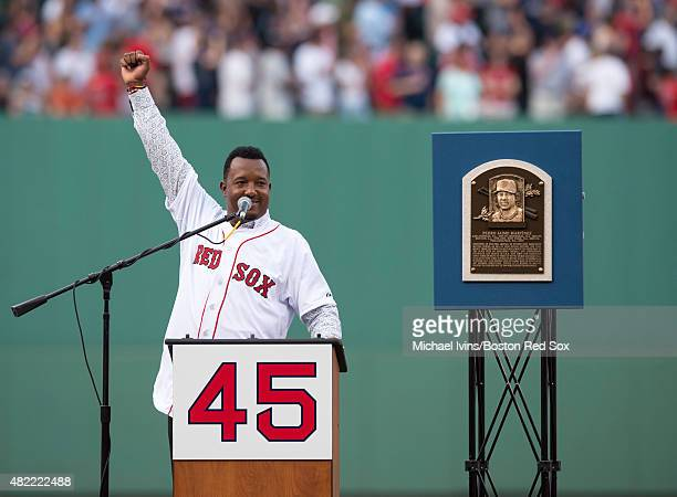 Former Boston Red Sox pitcher Pedro Martinez addresses the crowd during a number retirement ceremony at Fenway Park in Boston Massachusetts on July...