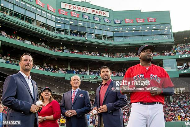 Former Boston Red Sox pitcher Tim Wakefield grand daughter of former Boston Red Sox player Ira Flagstead Tami Garvin President CEO Emeritus Larry...