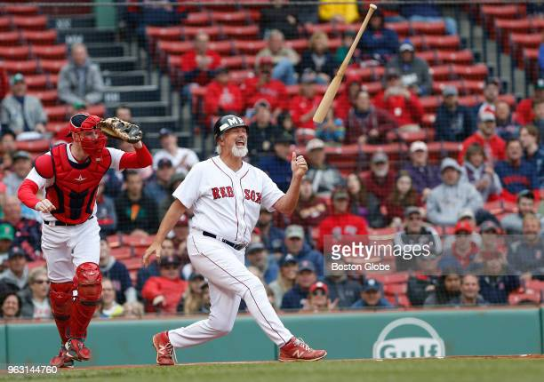 Former Boston Red Sox player Bill Lee flips his bat after striking out during the the Red Sox alumni game at Fenway Park in Boston on May 27 2018