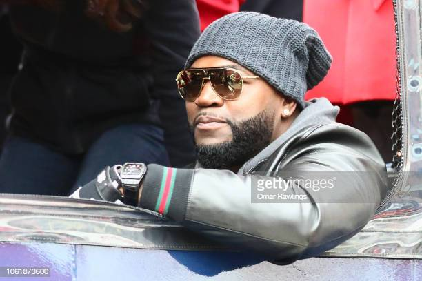 Former Boston Red Sox player David Ortiz looks on during the Boston Red Sox Victory Parade on October 31 2018 in Boston Massachusetts