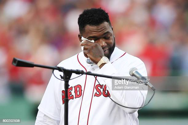Former Boston Red Sox player David Ortiz reacts during his jersey retirement ceremony before a game against the Los Angeles Angels of Anaheim at...