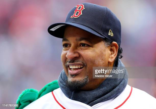 Former Boston Red Sox player Manny Ramirez looks on before the Red Sox home opening game against the Toronto Blue Jaysat Fenway Park on April 09 2019...