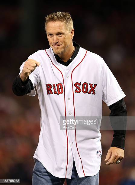 Former Boston Red Sox player Mike Timlin looks on before throwing out a ceremonial first pitch prior to Game Two of the 2013 World Series against the...