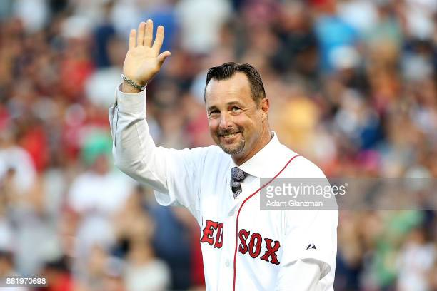 Former Boston Red Sox player Tim Wakefield looks on before a game against the New York Yankees at Fenway Park on August 19 2017 in Boston...