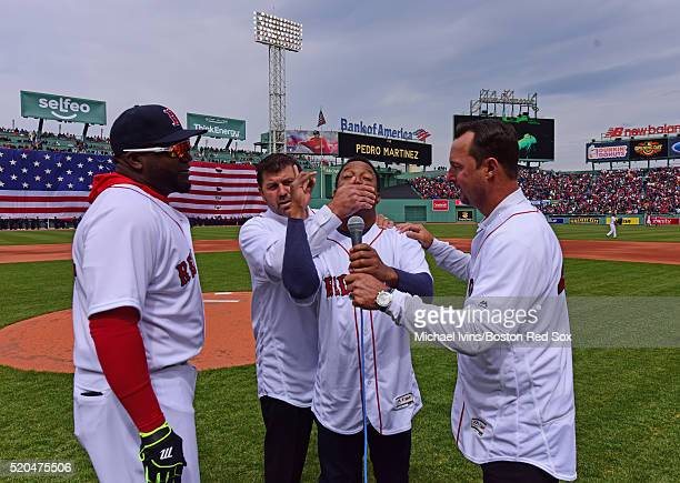 Former Boston Red Sox players Tim Wakefield Pedro Martinez and Jason Variety joined David Ortiz to announce 'Play Ball' on April 11 2016 at Fenway...