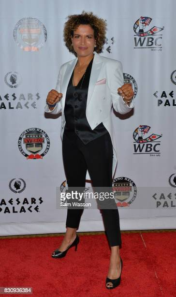 Former boxer actress and inductee Lucia Rijker arrives at the fifth annual Nevada Boxing Hall of Fame induction gala at Caesars Palace on August 12...