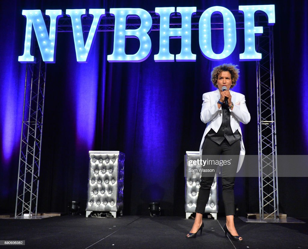 Former boxer and actress Lucia Rijker speaks as she in inducted into the Nevada Boxing Hall of Fame at the fifth annual induction gala at Caesars Palace on August 12, 2017 in Las Vegas, Nevada.