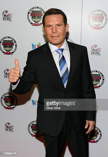 Former boxer and inductee Julio Cesar Chavez arrives at the Nevada Boxing Hall of Fame inaugural induction gala at the Monte Carlo Resort and Casino...