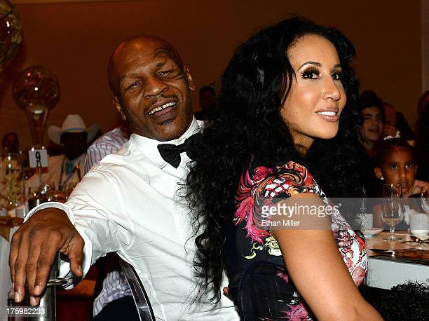 """Former boxer and inductee Mike Tyson and his wife Lakiha """"Kiki"""" Tyson attend the Nevada Boxing Hall of Fame inaugural induction gala at the Monte..."""
