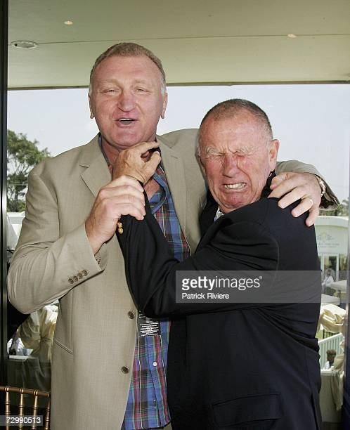 Former boxer Aussie Joe Bugner and businessman John Singleton attend the Conrad Jupiter's Magic Millions Raceday at the Gold Coast Turf Club on...