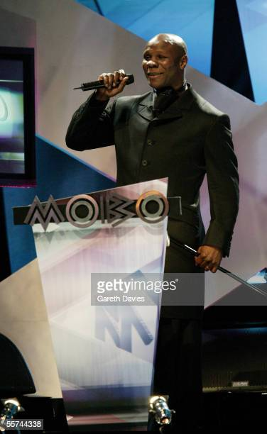 Former boxer Chris Eubank presents the award for Best World Music Act at the MOBO Awards 2005 the tenth anniversary of the annual music event at the...