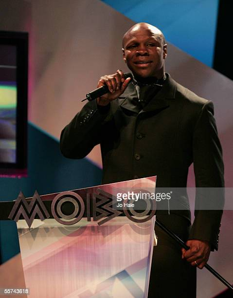 Former boxer Chris Eubank presents the award for Best World Music on stage during the MOBO Awards 2005 the tenth anniversary of the annual music...