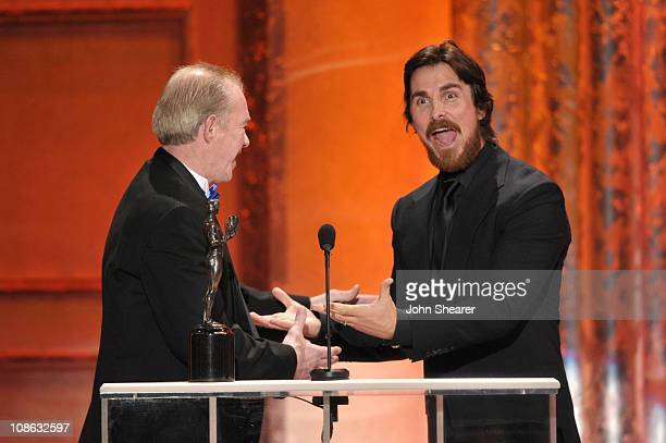 Former boxer Dicky Eklund and actor Christian Bale onstage at the TNT/TBS broadcast of the 17th Annual Screen Actors Guild Awards held at The Shrine...