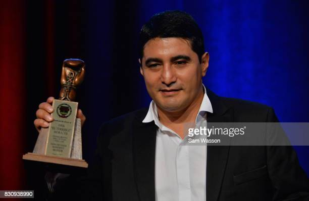 Former boxer Erik Morales poses for a photo as he is inducted into the Nevada Boxing Hall of Fame at the fifth annual induction gala at Caesars...