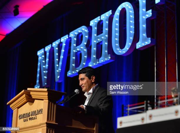 Former boxer Erik Morales speaks as he is inducted into the Nevada Boxing Hall of Fame at the fifth annual induction gala at Caesars Palace on August...