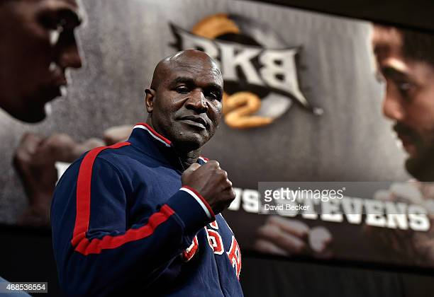 Former boxer Evander Holyfield appears during the BKB 2 weighin at the Mandalay Bay Events Center on April 3 2015 in Las Vegas Nevada